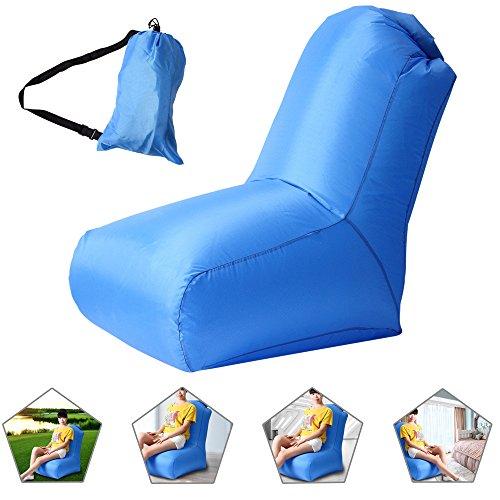 Air Stuhl, wasserdichtes aufblasbares Luftstuhl mit Tragebeutel für Camping und Strand, Aufblasbarer Sitzsack für die Benutzung im Freien oder zu Hause (blau)
