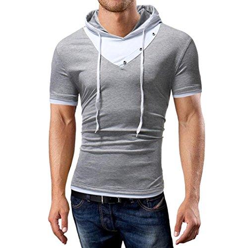 Preisvergleich Produktbild UFACE Männer-Kapuzen-Shirt mit Kurzen Ärmeln T-Shirt-Top mit Kapuze Patchwork-T-Shirt mit Kurzen Ärmeln Top Bluse (L