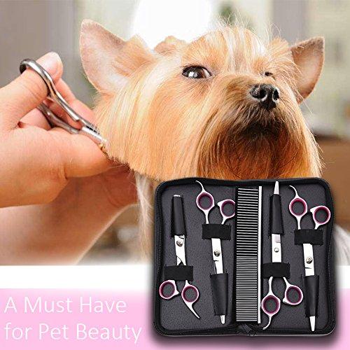 WOLFWILL Edelstahl-Haustier-Haar-Scheren Schneideschere zur Fellpflege für Hunde inkl.Kamm und Tuch-5Pcs - 5