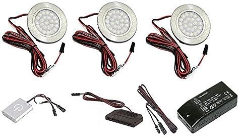 3er Set LED Möbel Einbauleuchte IP20 2W 12V LED 130 lumen kaltweiß 6000 Kelvin mit Dimmer Touch Schalter und