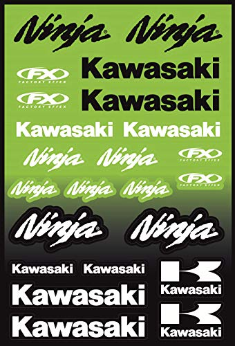 KIT STICKERS ADESIVI COMPATIBILI PER KAWASAKI NINJA SPONSOR MOTO CROSS ENDURO CASCO (60)