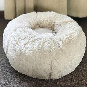 Hioowiu Warme Fleece Hundebett Runde Pet Lounger Kissen für kleine, mittelgroße Hunde Katze Winter Hundehütte Welpen Mat Weiß_70cm