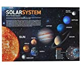 Schreibtischunterlage Sonnensystem und Planeten / Erde Planet - 50 cm * 36 cm - PVC Unterlage / Knetunterlage / Schreibunterlage / Tischunterlage - für Jungen Mädchen