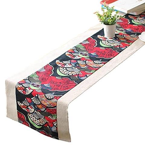 LINDA?Napperons Chemins De Table Ménage Vent Chinois Fluidique Collure Double Rectangle Table En Toile Nappe?30140CM?