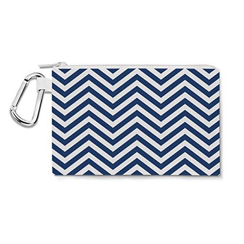 Chevron Stripes Navy - XL Canvas Pouch 12x9 inch - Canvas Zip Pouch Federmäppchen -