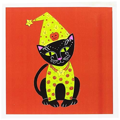 3drose schwarz Cat in Kostüm Halloween Katze orange Halloween Skurril Katze Skurril Illustration-Grußkarten, 6by Foto, 6Stück (GC 23297_ 1)