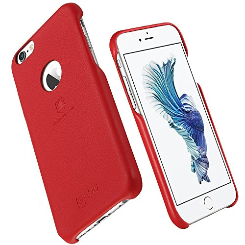 Wkae Lenuo Litchi Texture PU + PC Paste Skin Schutzhülle für iPhone 6s Plus ( Color : Rose gold ) Red