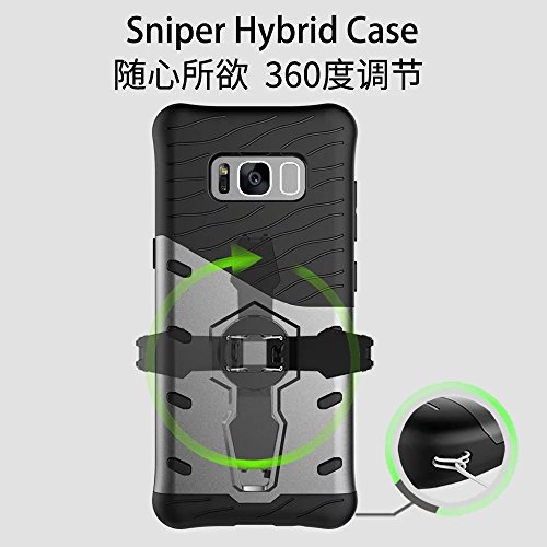 YHUISEN Hybrid Tough Rugged Dual Layer Rüstung Schild Schützende Shockproof mit 360 Grad Einstellung Kickstand Case Cover für Samsung Galaxy S8 ( Color : Black ) Blue