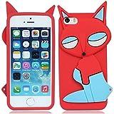 Weich silikon gummi Fuchs Dame hülle schale abdeckung case cover housing für iPhone 5 5G 5S(kann nicht passen 5C)_rot