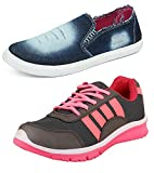 #6: Chevit Women's Combo Sports Shoes and Denim Casual Shoes (Loafers and Mocassins)