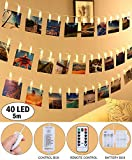 LED Lichterkette Fotoclips Lichterketten - QooLivin 20 Foto Clips 3M Länge Warmweiß Dekoration Foto Lichterkette mit USB Port La...