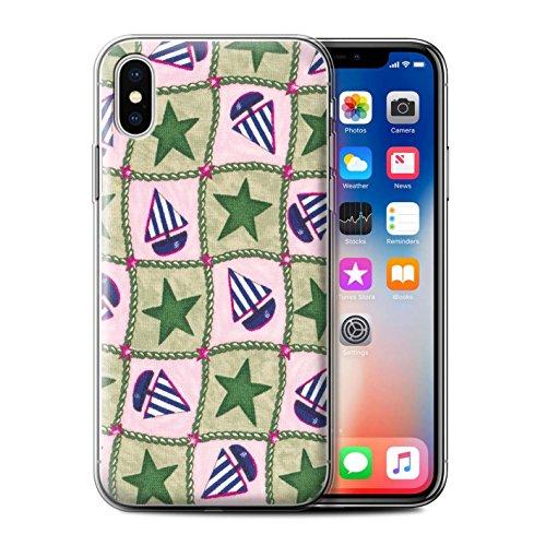 Stuff4 Gel TPU Hülle / Case für Apple iPhone X/10 / Pack (10 Modelle) / Boote und Sterne Kollektion Grün/Blau