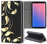 Samsung Galaxy S6 Hülle Premium Smart Einseitig Flipcover Hülle Samsung S6 Flip Case Handyhülle Samsung S6 Motiv (616 Abstract Schwarz Gold)