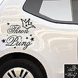 Kleb-Drauf - 1 Thron Prinz mit Krone / Orange - glänzend - Aufkleber zur Dekoration von Autos, Motorrädern und allen anderen glatten Oberflächen im Außenbereich; aus 19 Farben wählbar; in matt oder glänzend