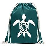 KIWISTAR - Schildkröte Hawaii Turnbeutel Fun Rucksack Sport Beutel Gymsack Baumwolle mit Ziehgurt