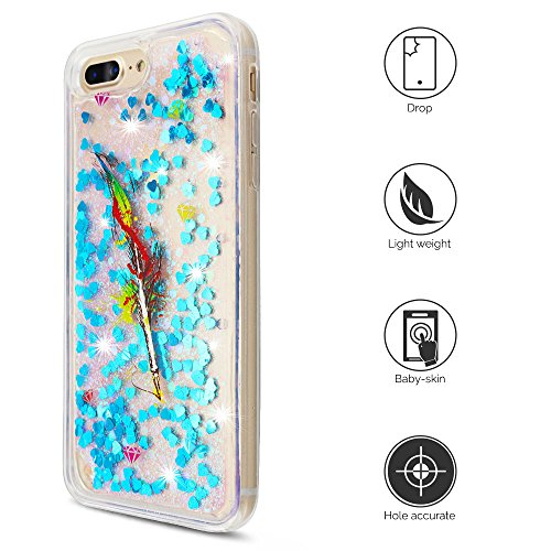 iPhone 7 Plus Hülle, iPhone 8 Plus Silikon Schutzhülle, Anfire Bling 3D Transparent Handy Case Hülle Weich TPU Silikon Schutzhülle Kreativ Dynamisch Treibsand Liquid Fließen Flüssig Muster Schale Tasc Feder Blau