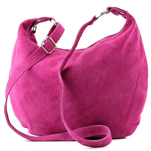 Borsa a mano borsa a tracolla shopping bag donna in vera pelle italiana T02 Pink