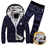 Clearance Sale [M-3XL] ODRDღ Hoodie Männer Sweatshirt Herren Trainingsanzug Warm Fleece Sport Hoodie + Pants Sweat Suit Outwear Sweatjacke Sweater Cardigan Kapuzen Mantel Pulli Pullover Langarmshirts