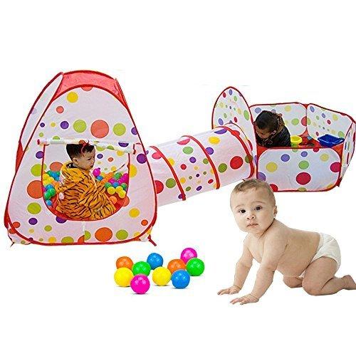 SKL Kinder Spielzelt Kind Bällebad Play Pop Up Tent Baby Kinderzelt mit Krabbeltunnel (Zelt + Bällebad + Krabbeltunnel)