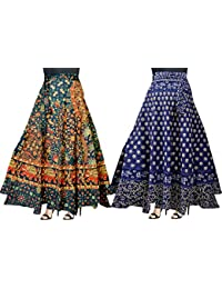 Trendy Fab Women's Cotton Multi Color Wrap Around 245_Wrap Skirt (Combo Pack of 2 pc) …