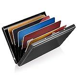 GreatShield RFID Blocking/Blocker Aluminium Metall Kreditkarten/Visitenkarten Halter|Hülle|Etui|Brieftasche|Kartenbörse|Wallet|Card Holder|Case /Ausweis /EC/Bank-Karte NFC Schutz Damen/Herren-Schwarz