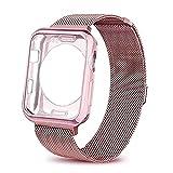 Bandmxs per Apple Watch Cinturino con custodia,Unico Magnete di Blocco, Orologio Bracciale in Acciaio Inossidabile Serie 1,Serie 2,Serie 3,Sport,Edition (42mm, Rose Gold)