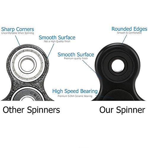 U-MISS Tri Fidget Hand Spinner/Cuscinetti Ultra Veloce/Giocattolo Fantastico Regalo – Perfetto per Alleviare Stress e Come Passatempo.(Nero) - 6