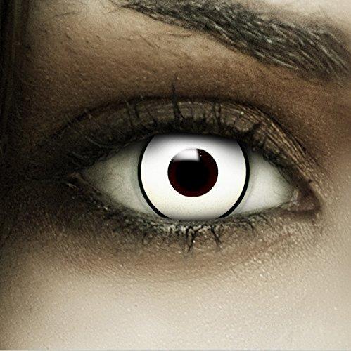 Farbige weiße Kontaktlinsen Bogie + Kunstblut Kapseln + Behälter von FXCONTACTS®, weich, ohne Stärke als 2er Pack - perfekt zu Halloween, Karneval, Fasching oder Fasnacht