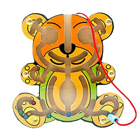 MagiDeal Wooden Puzzles Magnet Beads Slot Maze Board Game Magnetic Pen Labyrinth-Bear