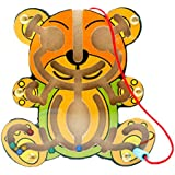 Anbau Wooden Puzzles Magnet Beads Slot Maze Board Game Magnetic Pen Labyrinth-Bear