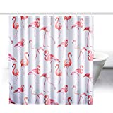 ZeWoo Flamingos Duschvorhang aus Stoff mit 12 Duschvorhangringe