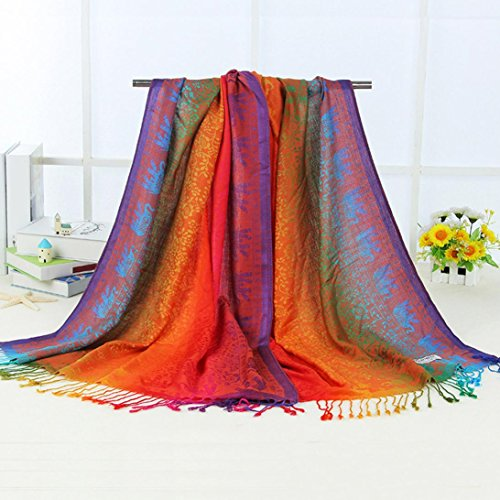 Fulltime(TM) Femmes Double Face Elephant National Wind Scarf Wrap Shawl Rouge