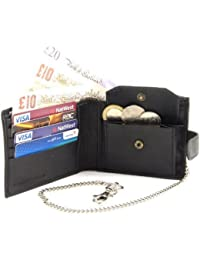 Black Leather Coin, Note and Card Wallet with Safety Chain
