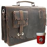 Aktentaschen - Laptoptasche SHATTERHAND aus braunem Western-Leder + Lederpflege FREIHERR von MALTZAHN