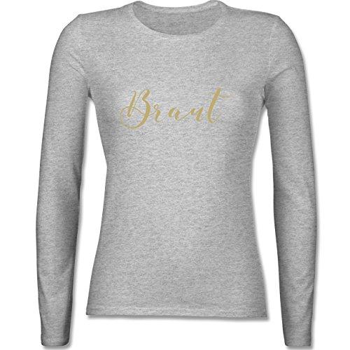 JGA Junggesellinnenabschied - Braut - JGA Handlettering - tailliertes Longsleeve / langärmeliges T-Shirt für Damen Grau Meliert