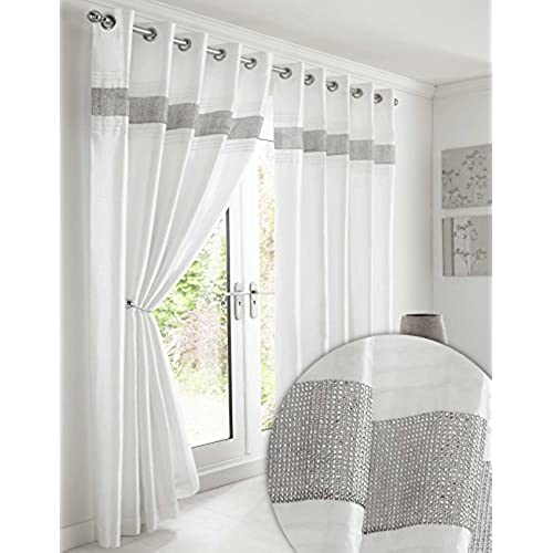 White and Silver Curtains: Amazon.co.uk