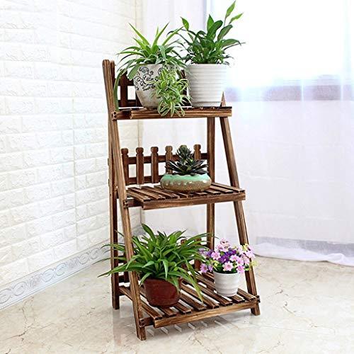 LLYU 3 couches affichage fleur en bois escalier/plante étagère de l'armoire de stockage du plateau de support de pot balcon stand (taille : 50 * 37 * 98cm)