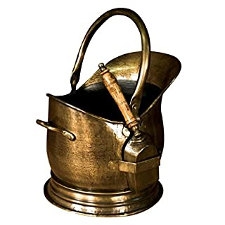 Antique Brass Coal Basket - Transports And Stores Your Coals To Your Fireplace - Can Also Be Used As Decoration