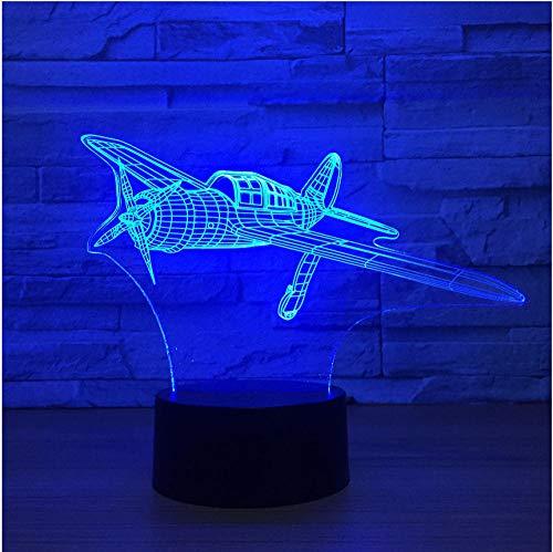 Avion À Hélice 3D Led Lampe 7 Couleur Night Lamps Pour Enfants Toucher Usb Table Bébé Veilleuse Veilleuse Télécommande