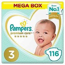 Pampers Premium care Diapers, Size 3, Midi, 6-10 kg, Mega Box, 116 Count