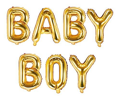 DaLoKu Baby Boy / Girl 35cm Folienballon Luftballon Babyparty Babyshower, Farbe: Baby Boy Gold (Boy Ballon Baby)