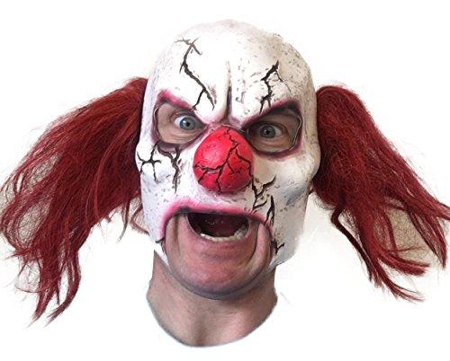 Scary agrietada máscara de payaso, abrir la boca, látex, color rojo pelo, Zombie Halloween Horror máscaras