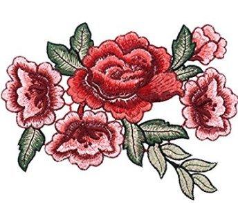 Oerity 1coppia di applicazioni decorative ricamate a forma di rosa, aderiscono tramite stiratura o se cuciti, ideali per abbellire magliette, jeans e cappelli, #1, #1
