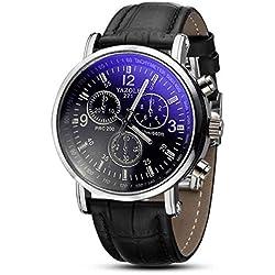Black Dial Black Watch Strap - male quartz watch
