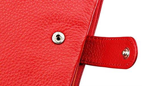 MeiliYH Sacchetto di Cuoio del Sacchetto di Carta Multifunzionale del Cuoio del Raccoglitore di Cuoio delle donne rosa rossa