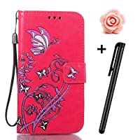 LG V3 Case,TOYYM Ultraslim PU Leather Flip Cover Wallet Bumper Case with [Card Slots] [Kickstand] [Magnet Closure],Colorful Butterfly and Flower Pattern Design Bookstyle Leather Protective Full Body Case Cover for LG V3,Rose Red
