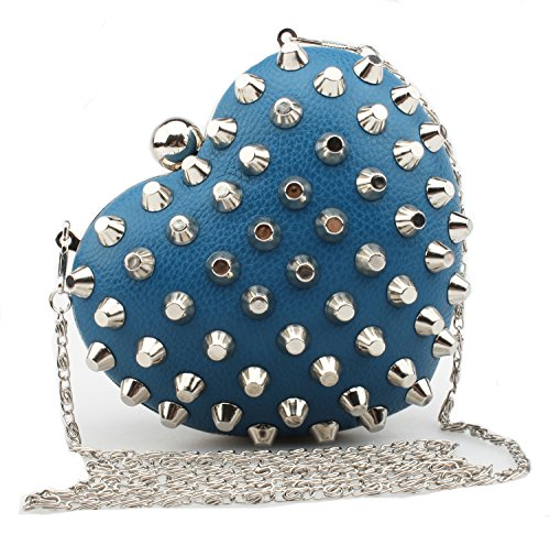 Good Night Cuir en forme de coeur strass rivets perlés soir sac à main Sacs d'embrayage