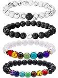 Bememo 4 Stück Lava Stein Armbänder 7 Farben Chakra Perlen, Aromatherapie Armbänder Armreifen für Ätherische Öle (Stil Set 3)