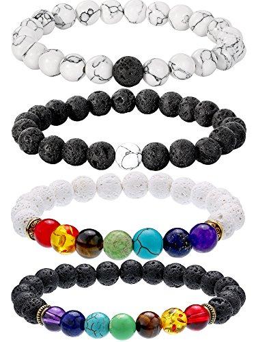 Bememo 4 Stück Lava Stein Armbänder 7 Farben Chakra Perlen, Aromatherapie Armbänder Armreifen für Ätherische Öle (Stil Set 3) -