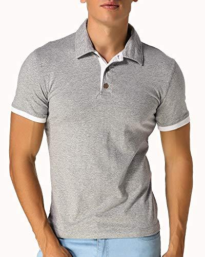 MODCHOK Herren T-Shirt Shirt Kurzarmshirt Poloshirt Polohemden Knopfleiste Slim Fit Hellgrau Large Lost-t-shirt Sweatshirt